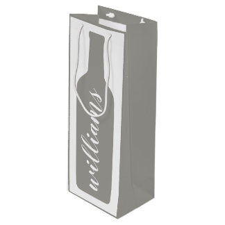 Personalized Text with Bottle Illustration Wine Gift Bag