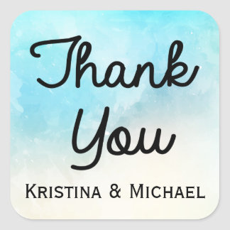 Personalized Thank You Blue & Turquoise Watercolor Square Sticker