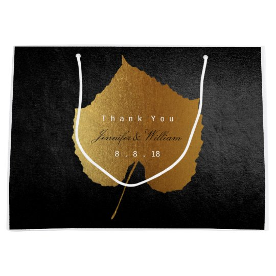 Personalized Thank You Fall Gold Leave Black Large Gift Bag