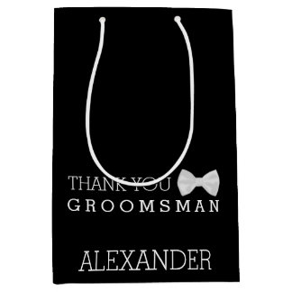 Personalized Thank You Groomsman White Bow Tie Medium Gift Bag