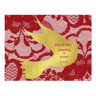 Personalized  Thank You Lace Wedding  Postcard