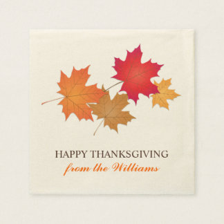 Personalized Thanksgiving Napkins | Fall Leaves Paper Napkin