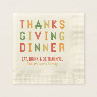 Personalized Thanksgiving Napkins | Fall Letters Paper Napkin