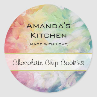 Personalized Thick Textured Abstract Paint Kitchen Classic Round Sticker
