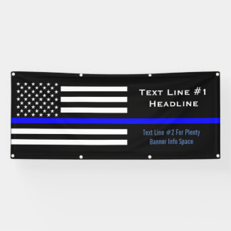 Personalized Thin Blue Line US Flag Handy Display Banner