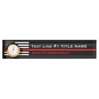 Personalized Thin Red Line American Flag on a Nameplate