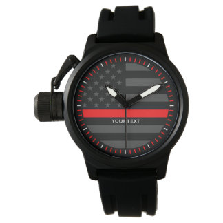 Personalized Thin Red Line Graphic Grey US Flag Watch