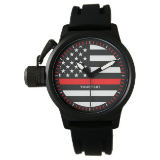 Personalized Thin Red Line Graphic on a US Flag Watch