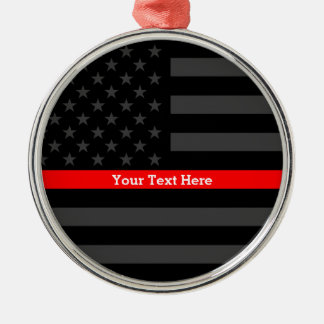 Personalized Thin Red Line Grey US Flag Keepsake Metal Ornament