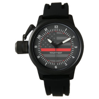 Personalized Thin Red Line Grey US Flag Watch