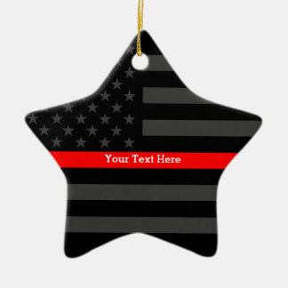 Personalized Thin Red Line Grey US Flag Your Text Ceramic Ornament