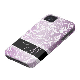 Personalized Thistle Purple & White Floral Damask iPhone 4 Cover