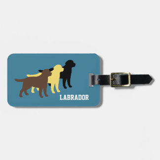 Personalized Three Color Labradors Outline Luggage Tag