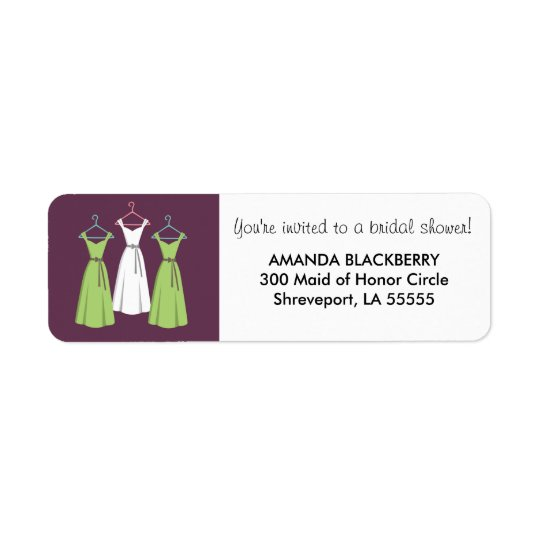 Personalized Three Dresses Bridal Shower Labels 2
