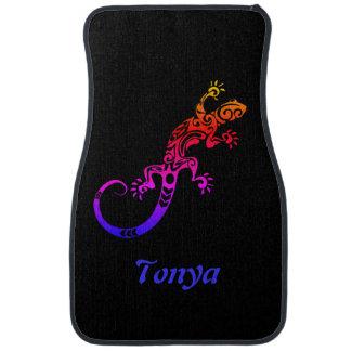 Personalized Tie Dye Tribal Tattoo Gecko Lizard Floor Mat