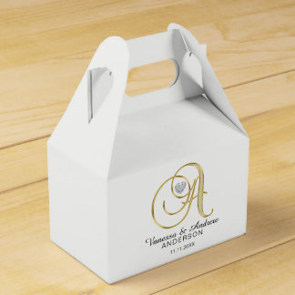 Personalized Topography Gold Monogram Letter 'A' Favor Box