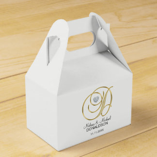 Personalized Topography Gold Monogram Letter 'D' Favor Box