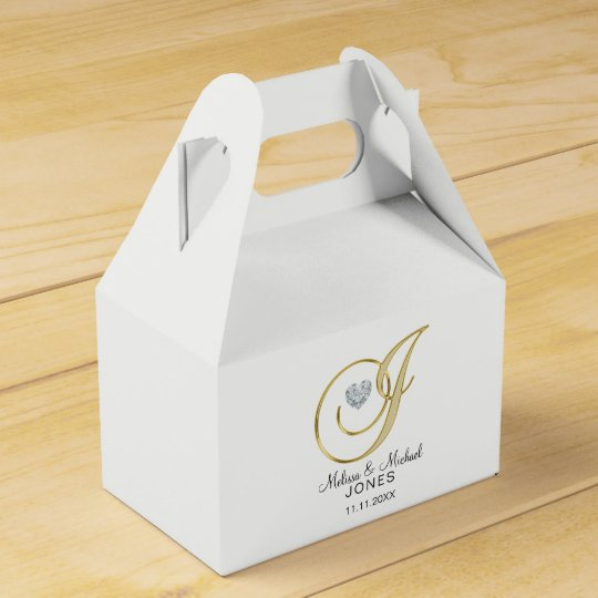 Personalized Topography Gold Monogram Letter 'J' Party Favor Boxes