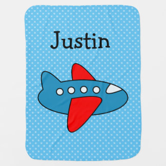 Personalized toy plane polkadotted baby blanket