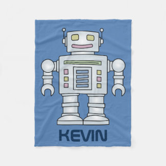 Personalized toy robot fleece blanket for kids