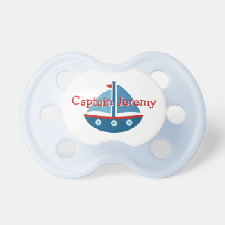 Personalized toy sail boat captain baby pacifier