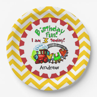 Personalized Train 3rd Birthday Paper Plates 9 Inch Paper Plate