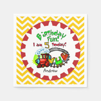 Personalized Train 5th Birthday Paper Napkins
