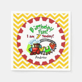 Personalized Train 7th Birthday Paper Napkins