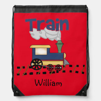 Personalized Train Drawstring Bag