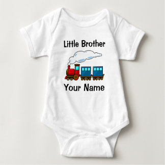 personalized train little brother baby bodysuit