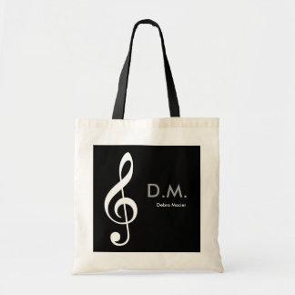 personalized treble clef music idea tote bag