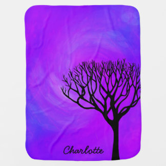 Personalized Tree Silhouette (Northern Lights) Swaddle Blanket