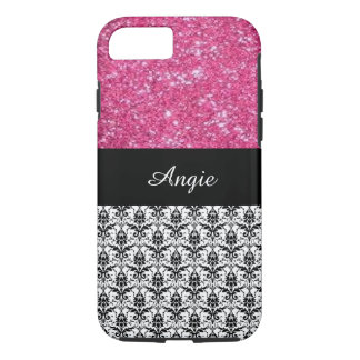 Personalized Trend Pink Glitter & Damask Bling iPhone 7 Case