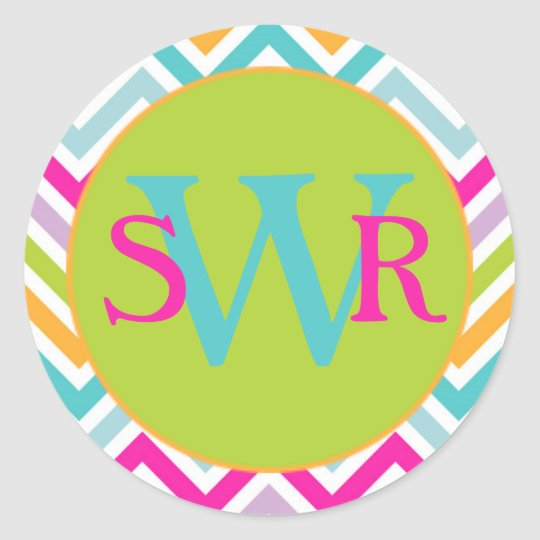 Personalized Trendy Chevron Classic Round Sticker
