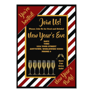 Personalized Trendy New Year's Party Invitations