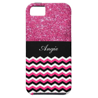Personalized Trendy Pink Glitter & Chevron Bling iPhone 5 Cases