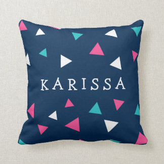 Personalized Triangle Confetti Throw Pillow
