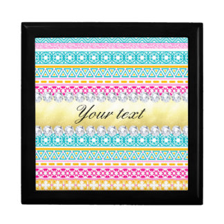 Personalized Tribal Pattern and Diamonds Gift Box