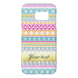 Personalized Tribal Pattern and Diamonds Samsung Galaxy S7 Case