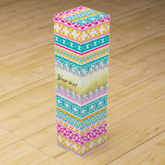 Personalized Tribal Pattern and Diamonds Wine Gift Box