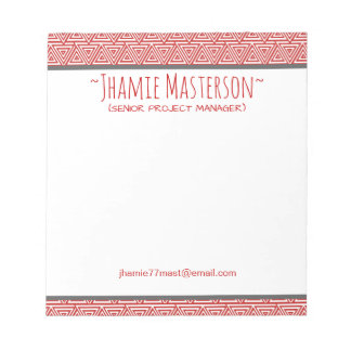 Personalized Tribangled Red Notepads