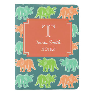 Personalized Triceratops Print Monogram Notebook
