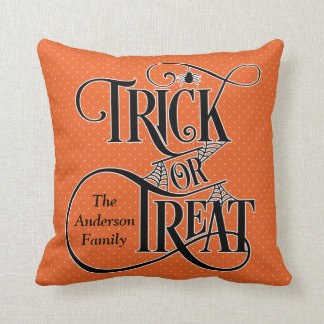Personalized Trick or Treat Halloween - Any Colour Throw Pillow