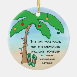 Personalized Tropical Beach Christmas Ceramic Ornament