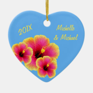 Personalized Tropical Blue Wedding Hibiscus Ceramic Ornament