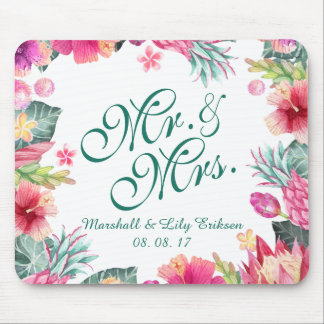 Personalized Tropical Floral Wedding   Mousepad