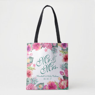 Personalized Tropical Floral Wedding Tote Bag
