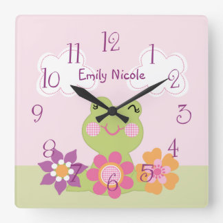 Personalized Tropical Frog Nursery Clock