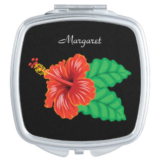 Personalized Tropical Hibiscus Flower Travel Mirror