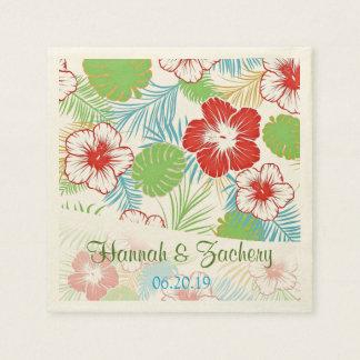 Personalized Tropical Hibiscus Hawaiian Wedding Disposable Napkins
